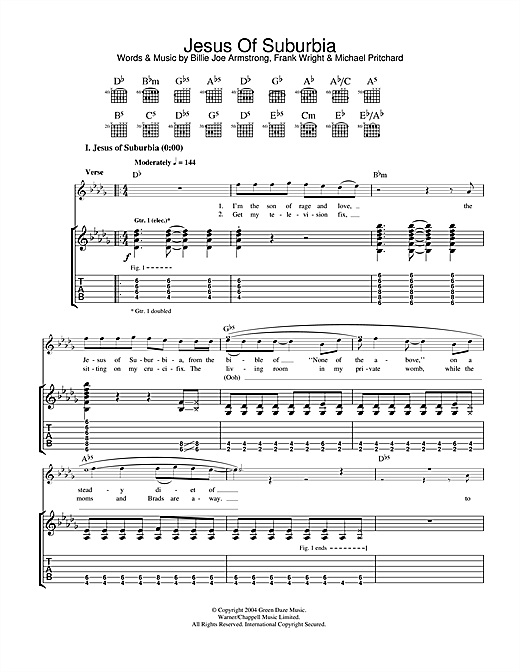 Jesus Of Suburbia Sheet Music