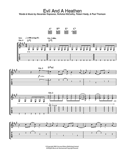evil and a heathen guitar tab by franz ferdinand guitar tab 33634. Black Bedroom Furniture Sets. Home Design Ideas