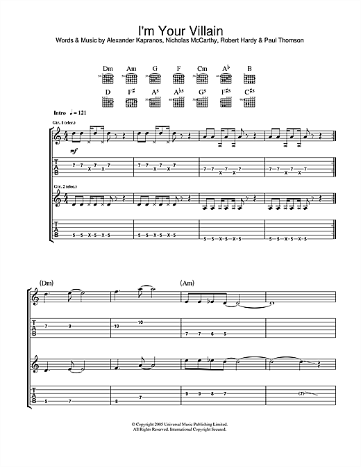 I'm Your Villain (Guitar Tab)