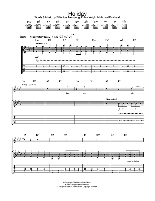Holiday Guitar Tab by Green Day (Guitar Tab u2013 33657)