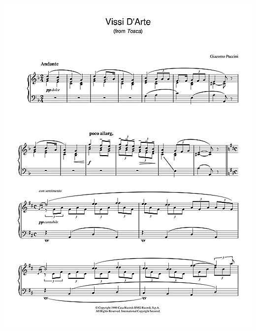 Vissi D'Arte (from Tosca) Sheet Music