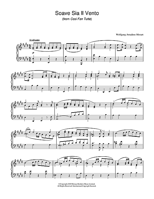 Soave Sia Il Vento (from Cosi Fan Tutte) Sheet Music