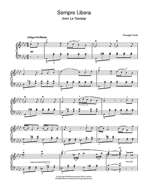 Sempre Libera (from La Traviata) Sheet Music
