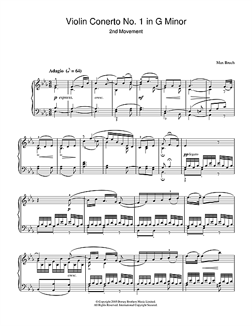 Violin Concerto No.1 In G Minor (2nd Movement) Sheet Music