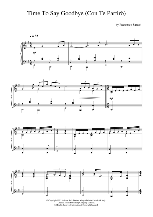Time To Say Goodbye (Con Te Partiro) Sheet Music