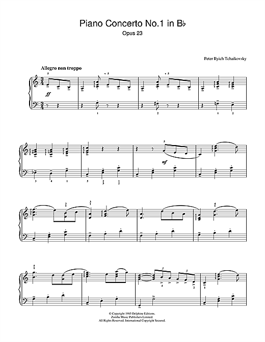 Piano Concerto No.1 in B Flat Minor, Op.23 Sheet Music