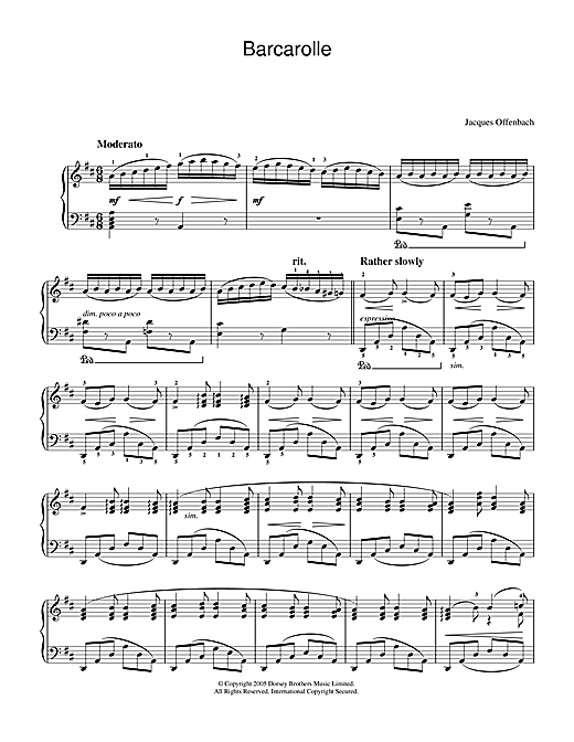 Partition piano Barcarolle (from The Tales Of Hoffmann) de Jacques Offenbach - Piano Solo