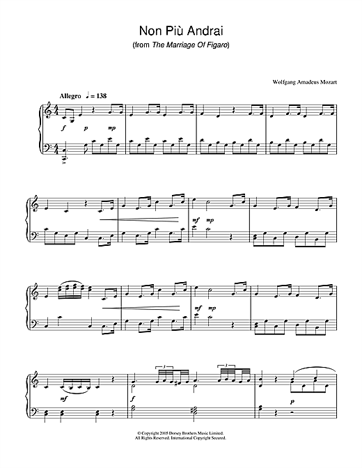 Non Più Andrai (from The Marriage Of Figaro) Sheet Music