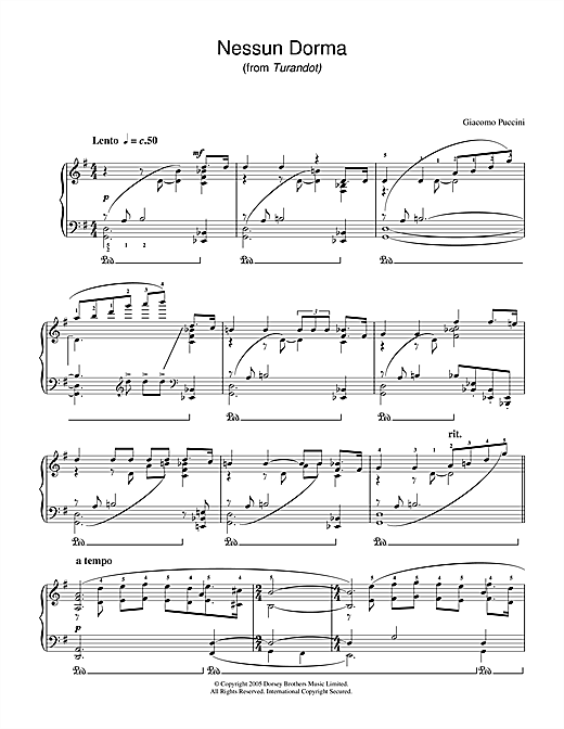 Nessun Dorma (from Turandot) Sheet Music