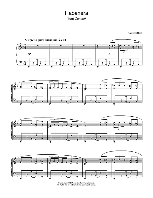 Partition piano Habanera (from Carmen) de Georges Bizet - Piano Solo