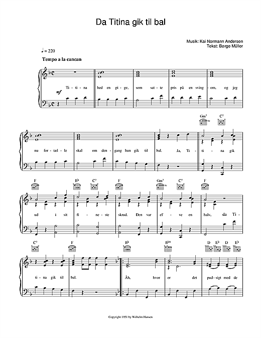 Da Titina Gik Til Bal (Piano, Vocal & Guitar (Right-Hand Melody))