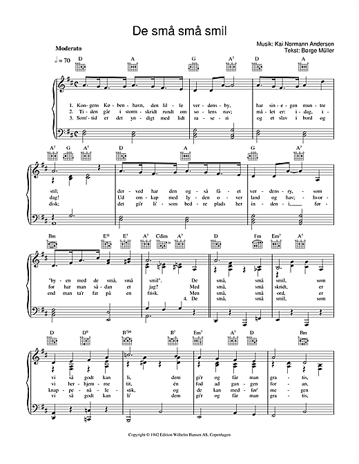 De Små Små Smil (Piano, Vocal & Guitar (Right-Hand Melody))