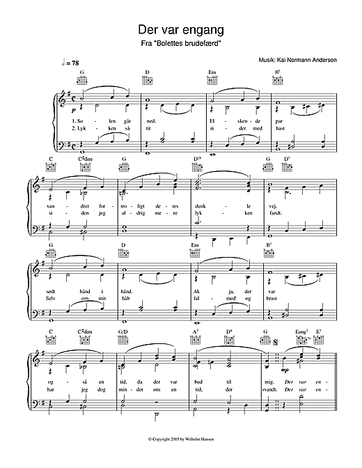 Der Var Engang Sheet Music