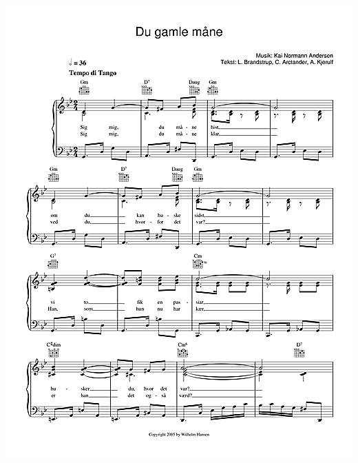 Du Gamle Måne (Piano, Vocal & Guitar (Right-Hand Melody))