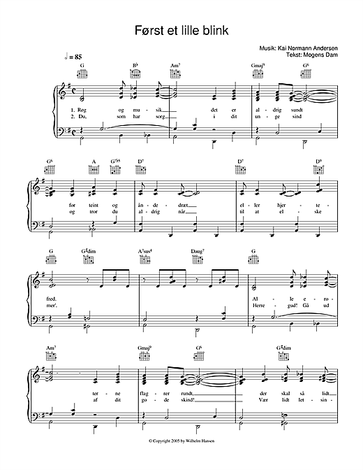 Først Et Lille Blink Sheet Music
