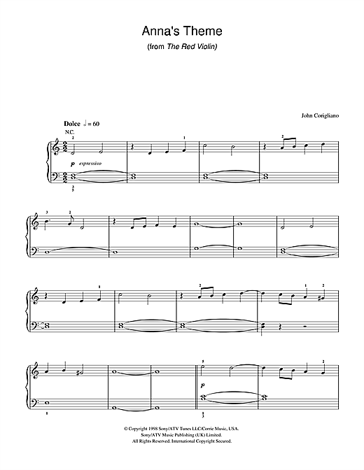 Anna's Theme (from The Red Violin) Sheet Music