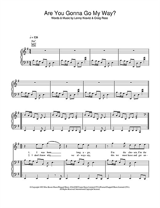 Are You Gonna Go My Way? Sheet Music