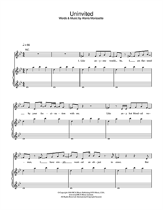 Uninvited Sheet Music