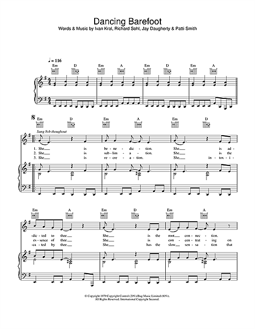 Dancing Barefoot Sheet Music