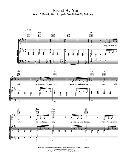 Partition piano I'll Stand By You de The Pretenders - Piano Voix Guitare (Mélodie Main Droite)