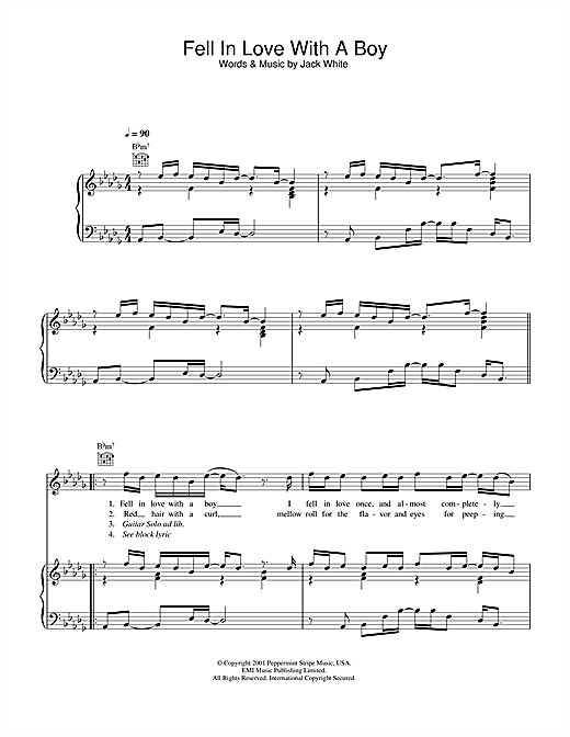 Partition piano Fell In Love With A Boy de Joss Stone - Piano Voix Guitare (Mélodie Main Droite)