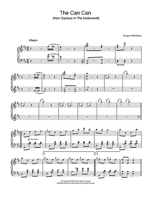 The Can Can (from Orpheus In The Underworld) Sheet Music