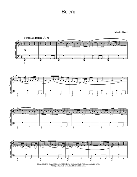 partition piano bolero ravel