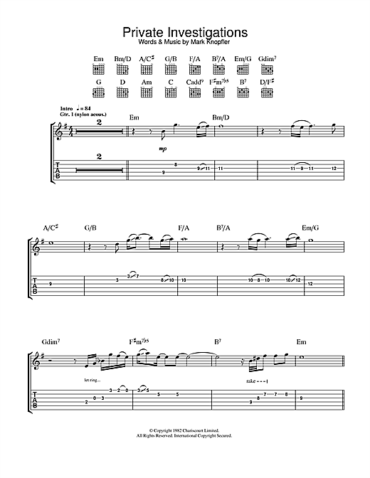 Private Investigations Sheet Music