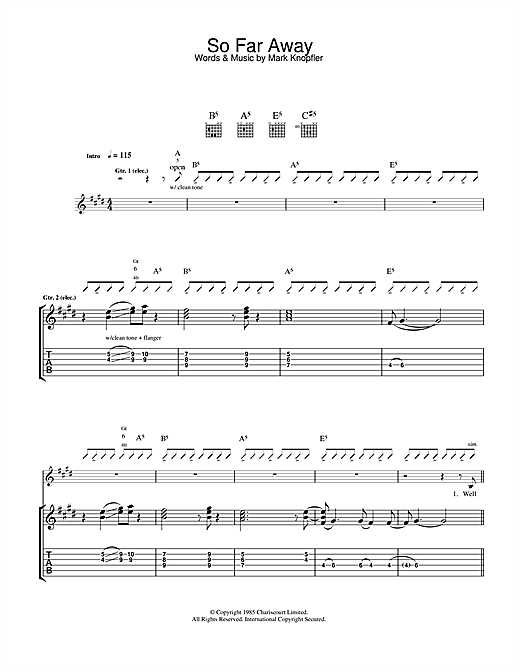 Tablature guitare So Far Away de Dire Straits - Tablature Guitare