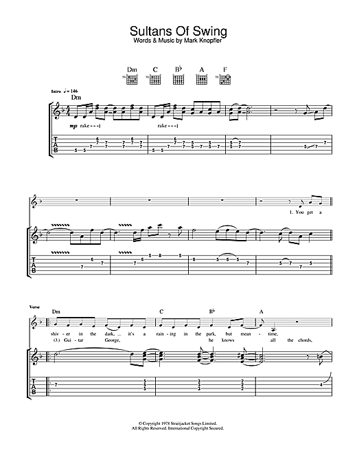 Tablature guitare Sultans Of Swing de Dire Straits - Tablature Guitare