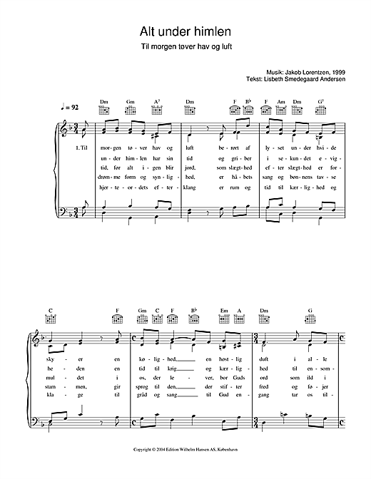 Alt Under Himlen - Til Morgen Tøver Hav Og Luft Sheet Music
