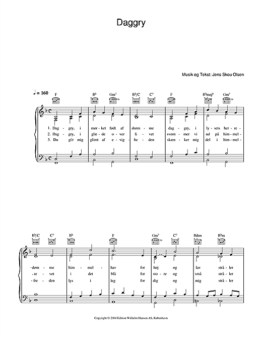 Daggry Sheet Music