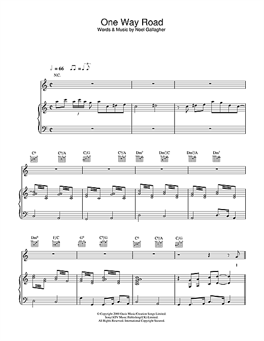 One Way Road Sheet Music