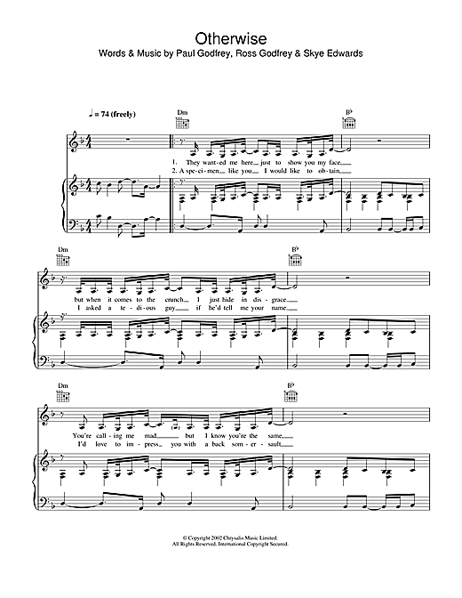 Otherwise (Piano, Vocal & Guitar (Right-Hand Melody))