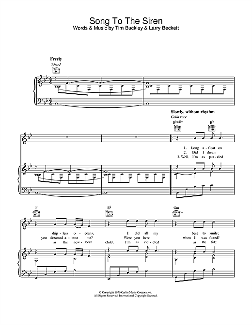 Song To The Siren (Piano, Vocal & Guitar (Right-Hand Melody))