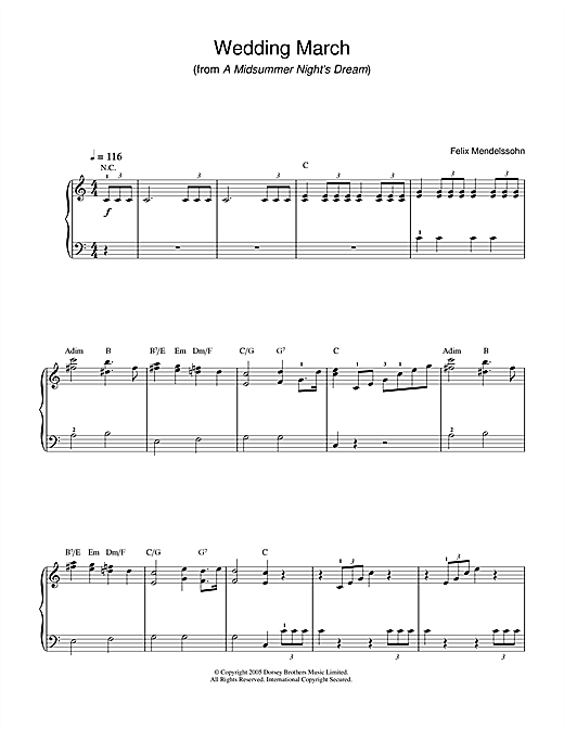 Partition piano Wedding March (from A Midsummer Night's Dream) de Felix Mendelssohn - Piano Facile