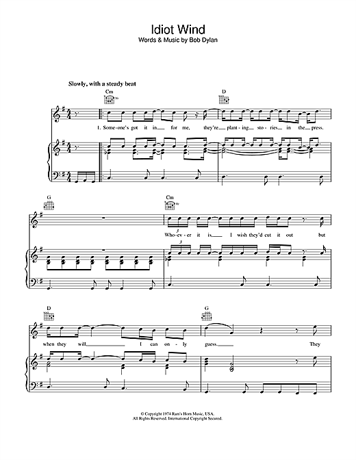 Idiot Wind (Piano, Vocal & Guitar (Right-Hand Melody))