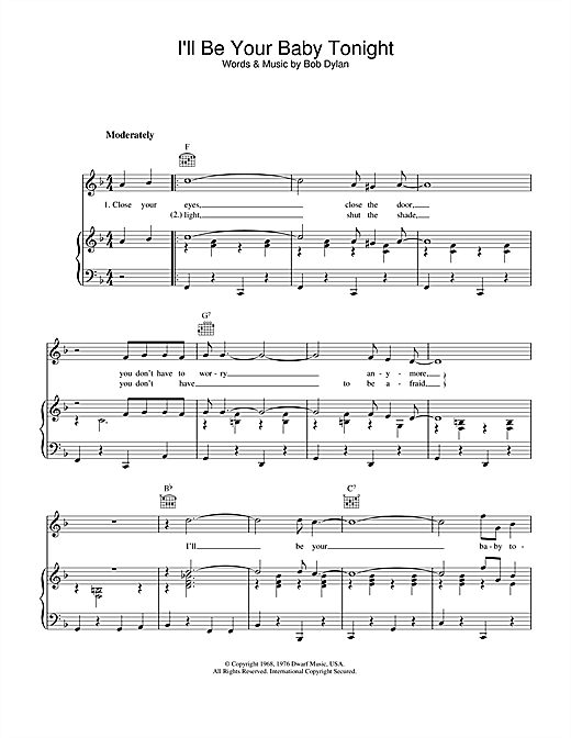 I'll Be Your Baby Tonight (Piano, Vocal & Guitar (Right-Hand Melody))