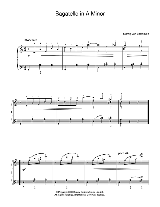Bagatelle In A Minor Sheet Music