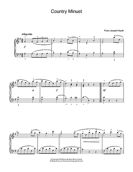 Country Minuet Sheet Music