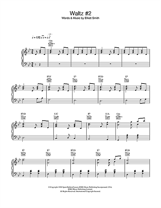 Waltz #2 (XO) sheet music by Elliott Smith (Piano, Vocal u0026 Guitar (Right-Hand Melody) u2013 33878)