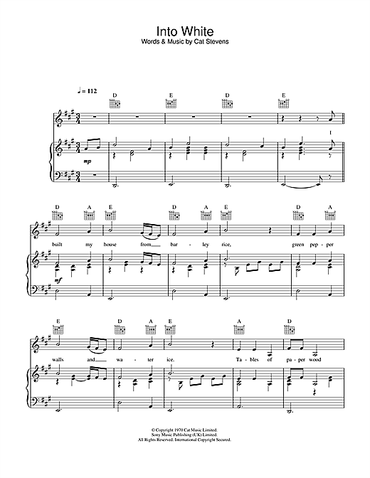 Into White Sheet Music