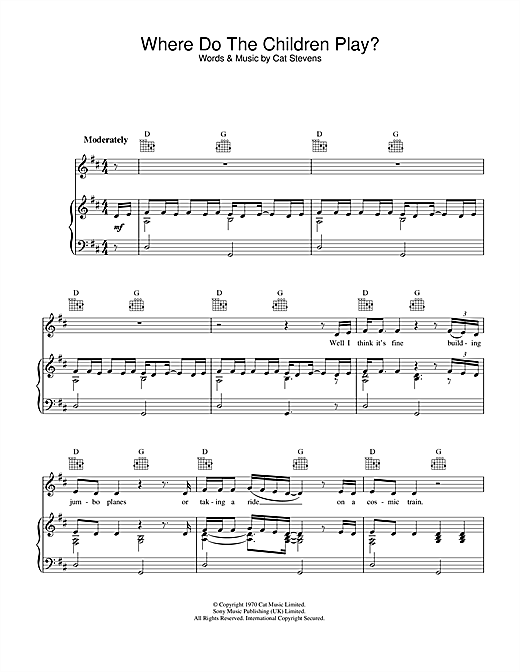 Where Do The Children Play? (Piano, Vocal & Guitar (Right-Hand Melody))
