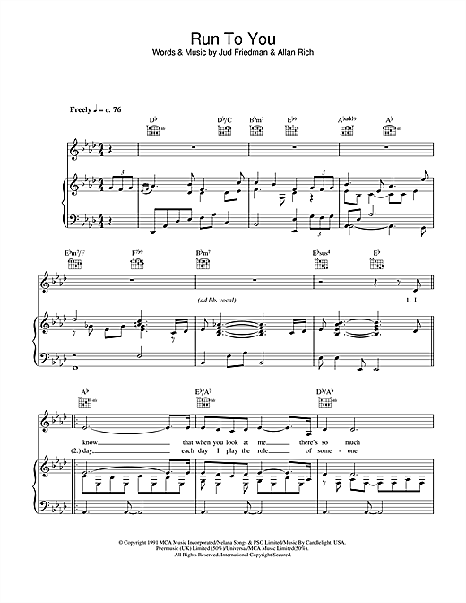 Run To You (Piano, Vocal & Guitar (Right-Hand Melody))