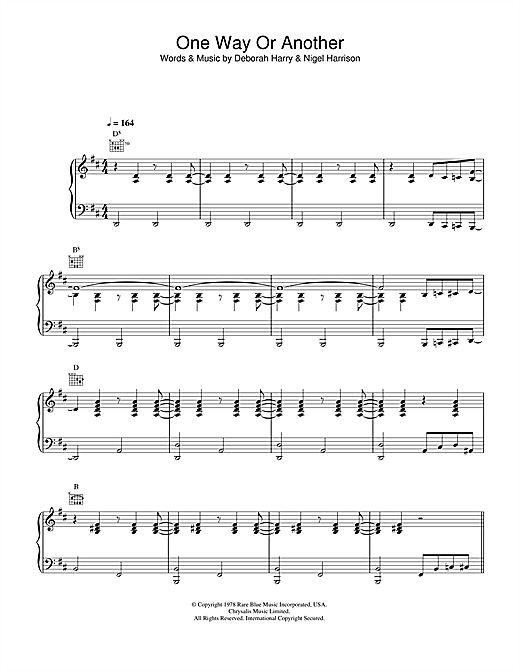 Partition piano One Way Or Another de Blondie - Piano Voix Guitare