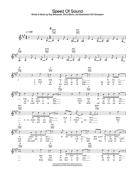 Speed Of Sound (Lead Sheet / Fake Book)