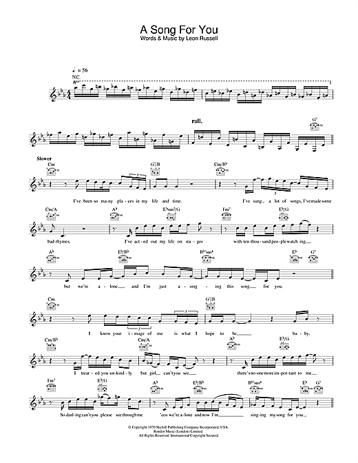 A Song For You Sheet Music