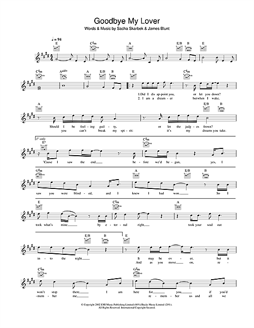 Goodbye My Lover (Lead Sheet / Fake Book)