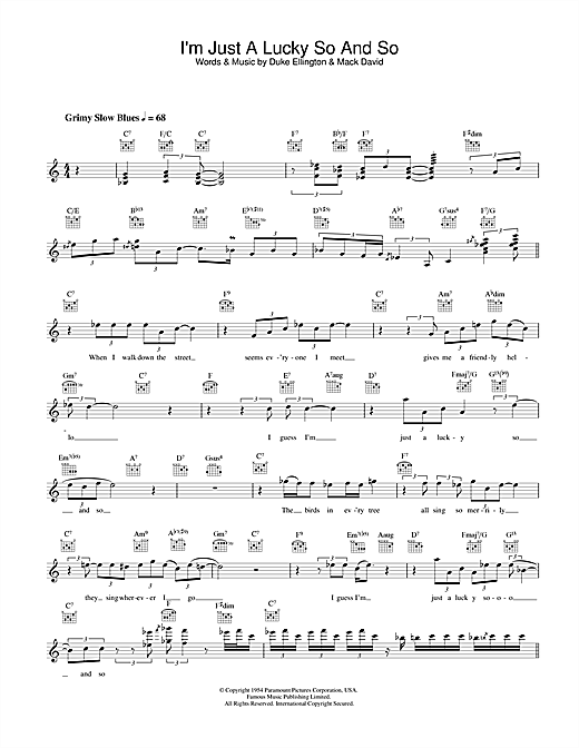 I'm Just A Lucky So And So Sheet Music
