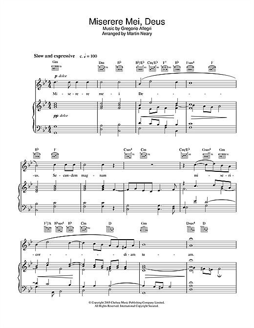 Miserere Sheet Music
